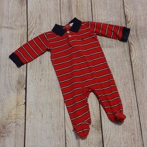 Ralph lauren red striped footed sleeper sz 6-9m